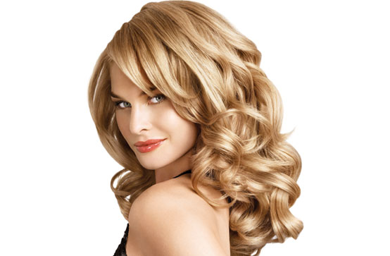 Long blonde curls with lowlights