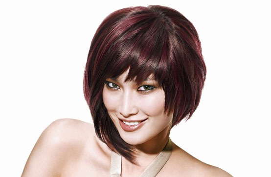 Short haircut – red highlights